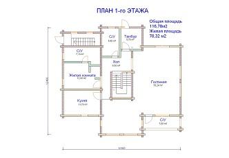 изображение проекта дома из клееного бруса Марино-2