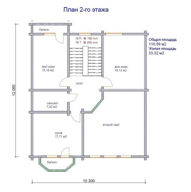 изображение проекта дома из клееного бруса Николово-Прозорово