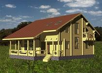 изображение проекта дома из клееного бруса Скандинавия 308